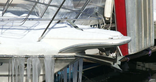 Icicles on the bow of a boat Footage