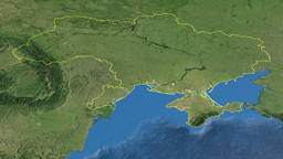 Ukraine, Glide Over The Map, Outlined stock footage