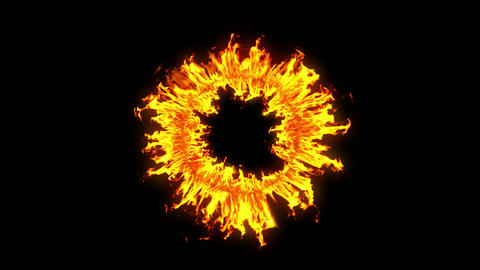 Beautiful Ring of Fire Looped. HD 1080. Alpha channel Animation