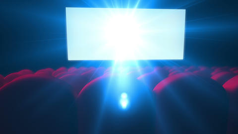 Empty Modern Cinema With Flickering White Screen stock footage