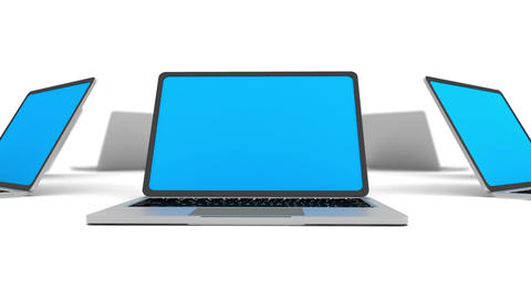 Many laptops in a circle isolated on white Animation