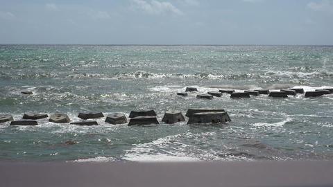 Environmental Beach Protection Barricades stock footage