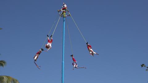 Closeup Mayans Performing at Playa Del Carmen City Square Footage