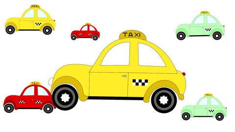 Taxi rides on a white background, advertising, animation, cartoon Live Action