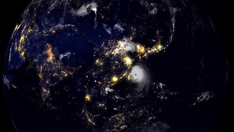 Hurricane Hits China / Taiwan At Night Time Animation