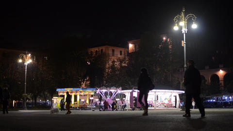 Carrousel park at night 2648 Footage
