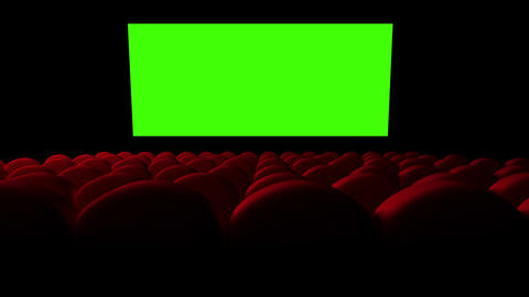 Cinema screen with green screen and open red seats Animation