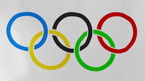 Loopable: Olympic Rings Flag Waving in Wind Footage