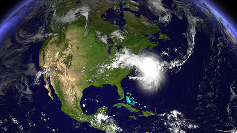 Hurricane Hits North Carolina / USA Animation
