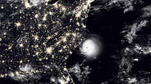 Hurricane Hits South Carolina / USA At Night Animation