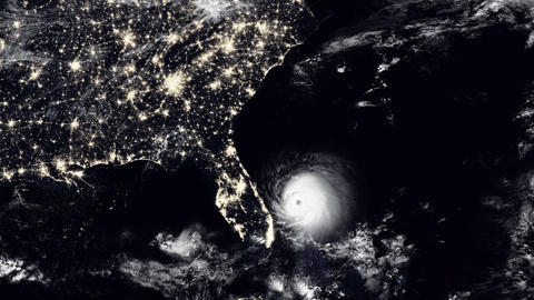 Hurricane Hits South Florida / USA At Night Animation