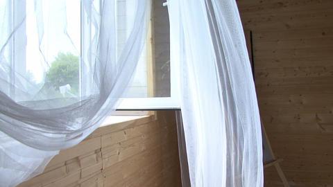 curtain on wooden window Footage