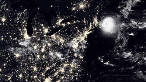 Hurricane Hitting Boston At Night Animation
