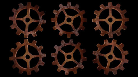 Steampunk Multiple Spinning Cogs Animation