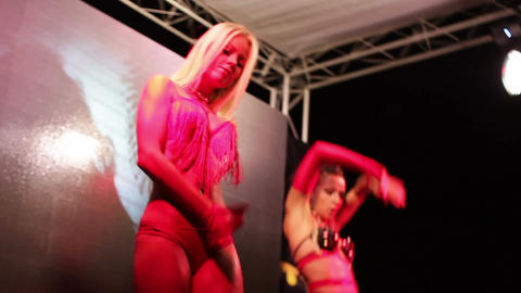 Sexuality of the club dancers on the stage of summer nightclub Footage