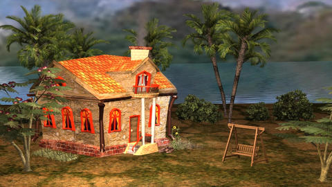 Little House Cartoon Story In The Afternoon View stock footage