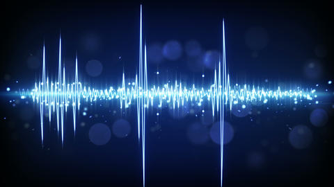 blue audio waveform techno loopable background 4k (4096x2304) Animation