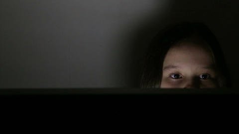 Girl looking at PC screen Footage