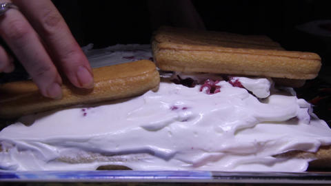 Cake with crackers and whipped cream 01 Footage
