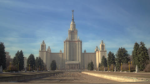 Walk to Lomonosov Moscow State University. Motion timelapse hyperlapse 4K Footage
