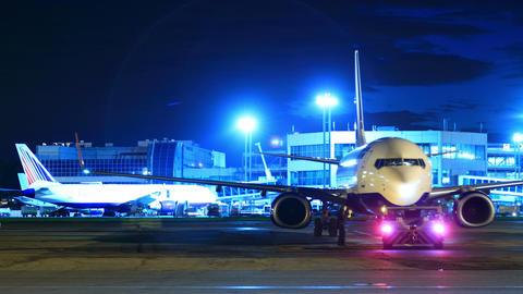 Night airport runway timelapse 4K Footage