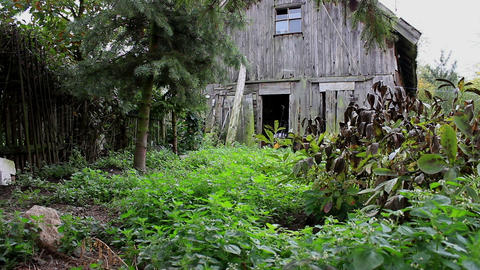 View Of The Abandoned, Neglected Garden And Rambling Barn stock footage