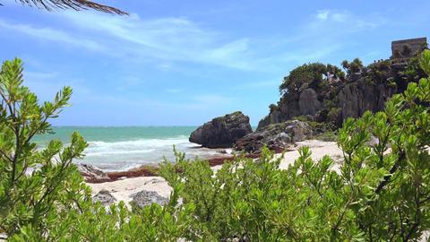Beach Cliff Peak Through The Jungle stock footage