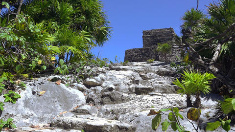 Mayan Ruins - Up The Stone Path To The Church stock footage