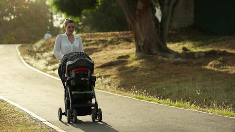 Woman Mother Mom With Toddler in Pushchair Walking In Park Footage