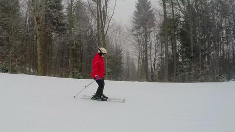 Snowfall and Girl Skier Footage