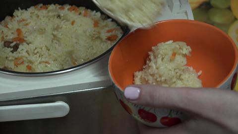 Traditional Rice Pilaf - Plov. 4k Ultra HD Footage