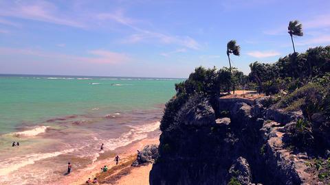 Beach Cliff Overlook Windy Palms Footage