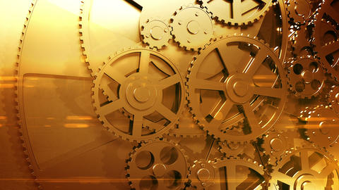 Golden Gears Rotating in Looped Animation. HD 1080 Animation