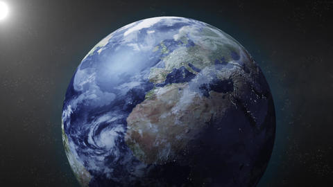Earth animation zooms in on North Pole Animation