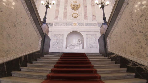 The main staircase in the Mikhailovsky Castle Footage