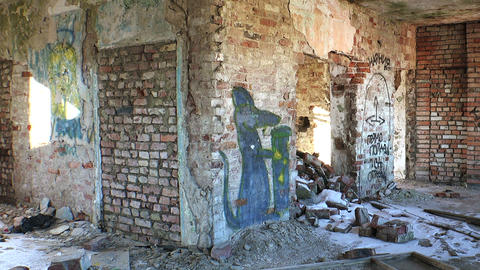 Ruins And Debris Of The Old Brick House stock footage