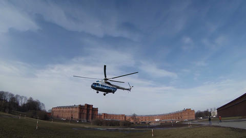 The helicopter flies away from the takeoff site Footage