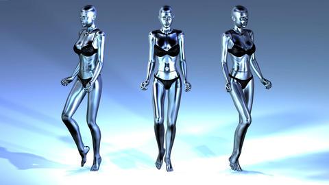 Digital Animation of three walking Manikins Animation