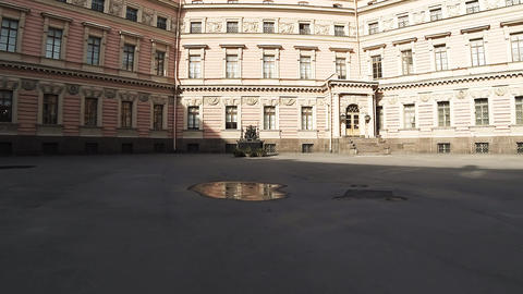 Monument to Emperor Paul I in yard of the Mikhailovsky castle. Saint-Petersburg. Footage