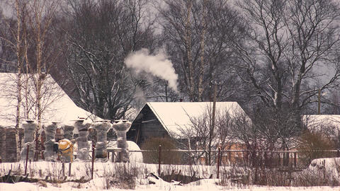 The Village In Winter. 4K stock footage