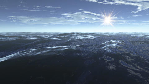 3d Animation Seascape At Sunset stock footage