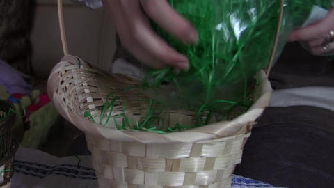 Easter eggs in basket with grass 03 Footage