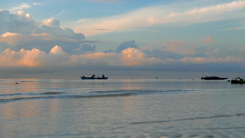 Philippines Fishermen Return From Fishing In Early Morning stock footage