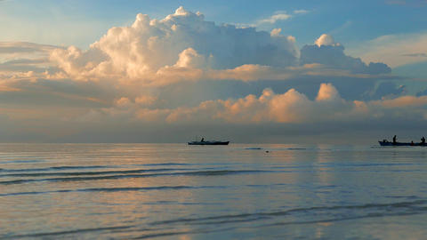Fisherman arriving by boat in early morning. Philippines. 4K resolution Footage