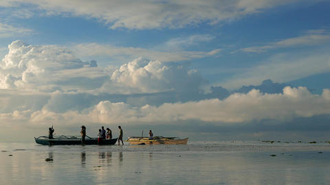 BOHOL - February 2015: Philippines fishermen returned from fishing in early morn Footage