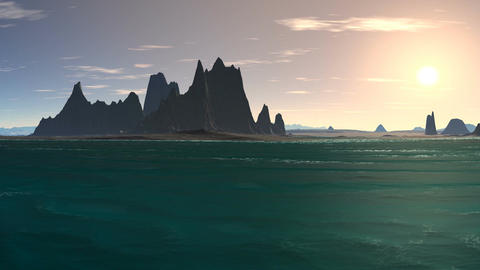 Sunrise over a rocky island in the ocean Animation