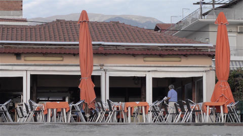 Restaurant Terrace stock footage