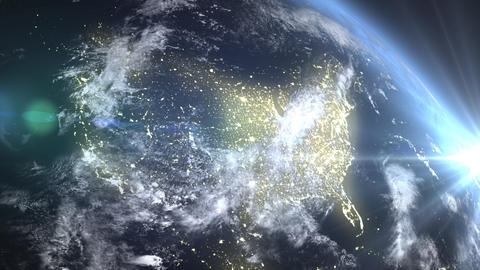 Beautiful Sunrise USA From Space / Slow Clouds stock footage