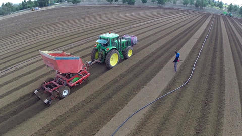 Tractor Harvesting The Field stock footage