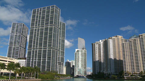 Miami Skyline On A Sunny Morning stock footage